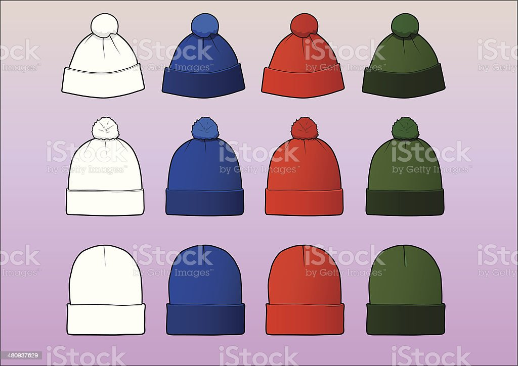 Set of 12 assorted beanies vector art illustration