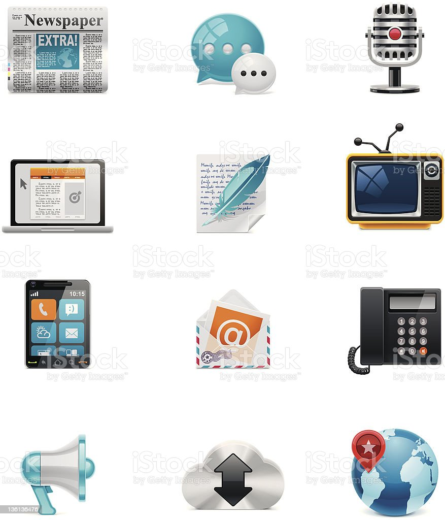 Set of 12 colorful communication and social media icons royalty-free stock vector art