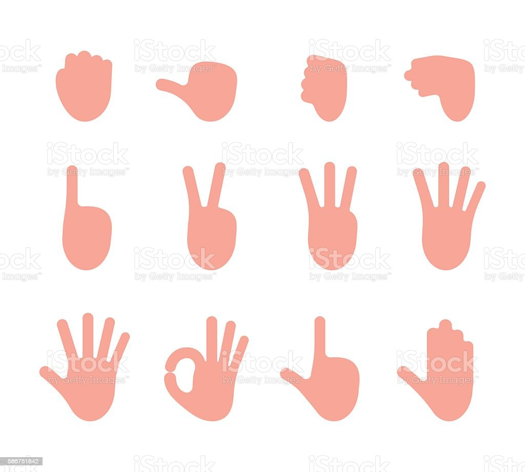Set of 12 hand gestures vector art illustration