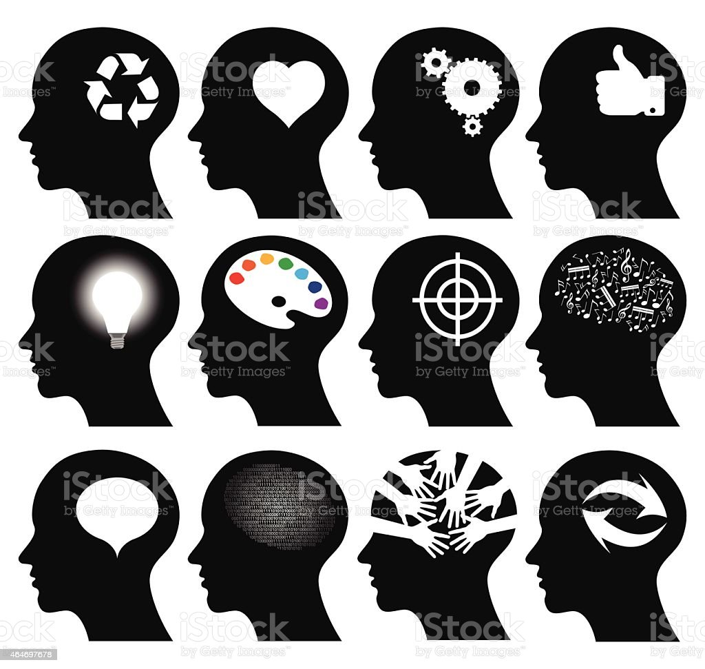 Set of 12 head icons with idea symbols vector art illustration