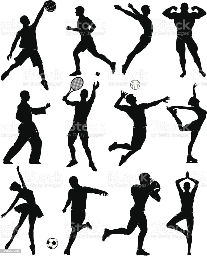 Set of 12 mixed sports silhouette icons royalty-free stock vector art