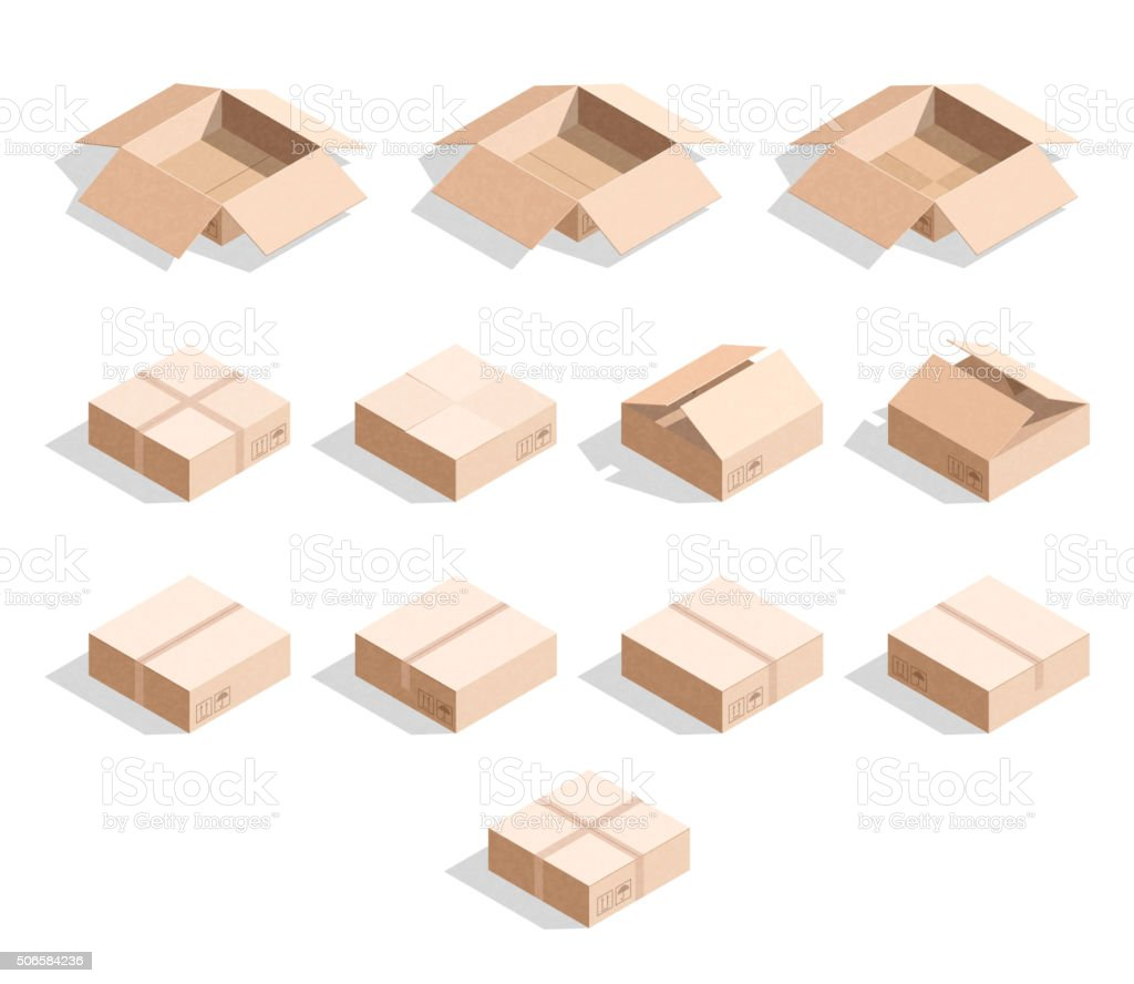 Set of 12 realistic isometric cardboard boxes with texture vector art illustration