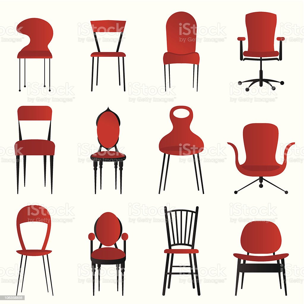 Set of 12 red and black chairs of different varieties  vector art illustration
