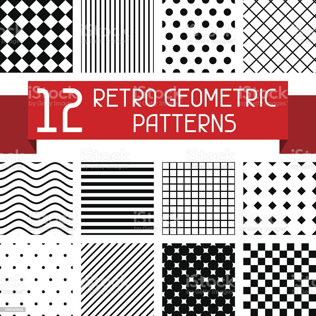 Set of 12 retro geometric patterns. vector art illustration