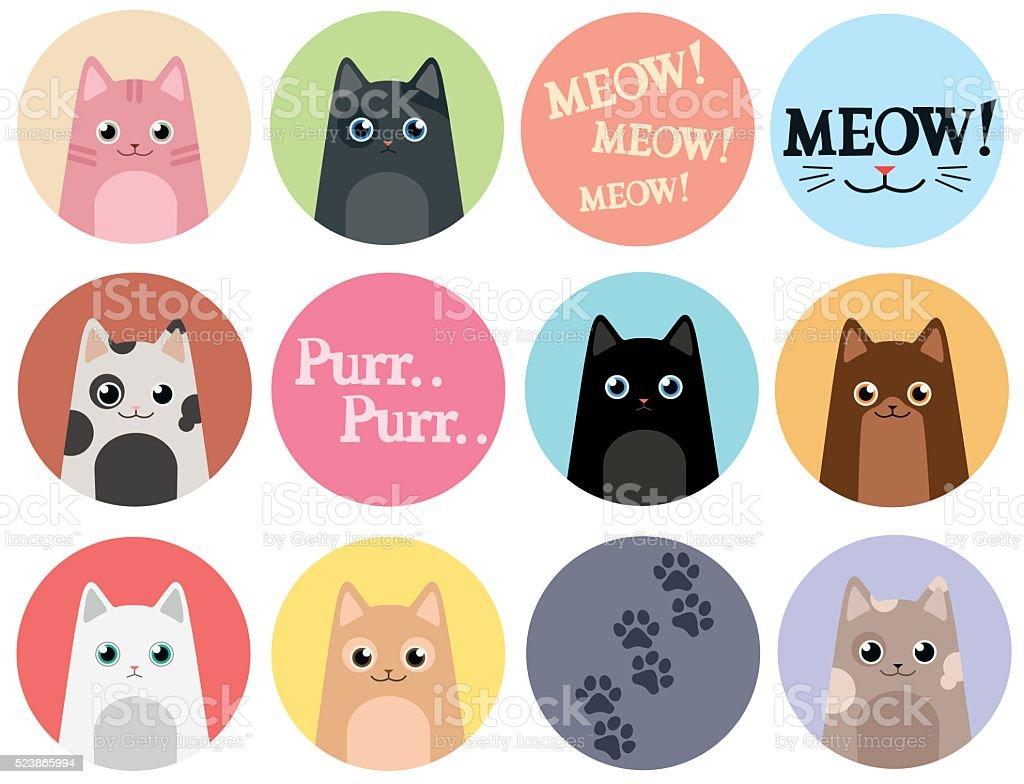 Set of 12 stickers. Cats. Cartoon vector design vector art illustration