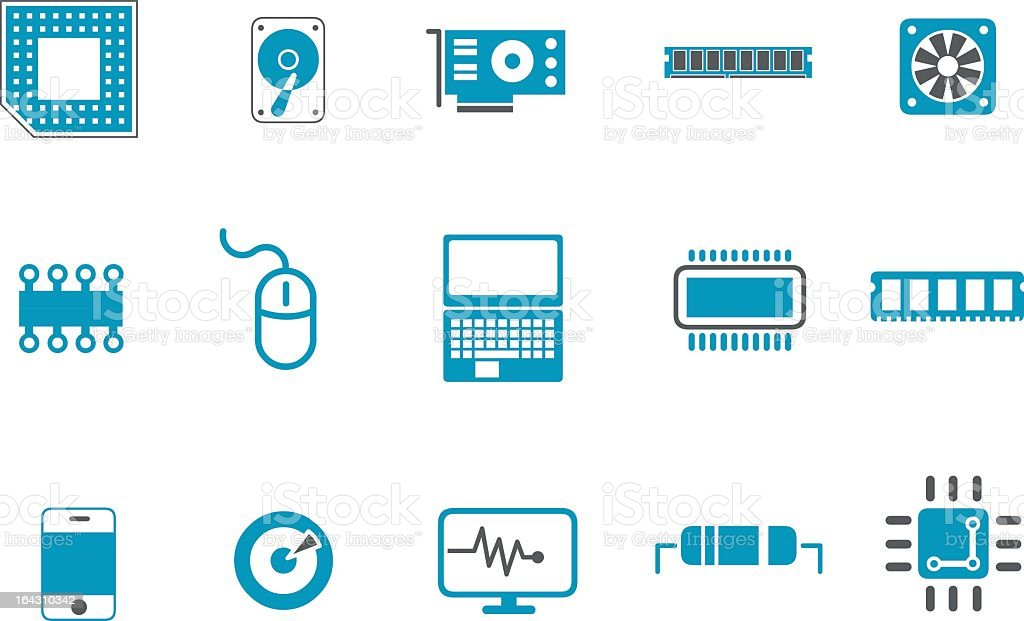 Set of 15 blue and white hardware icons royalty-free stock vector art