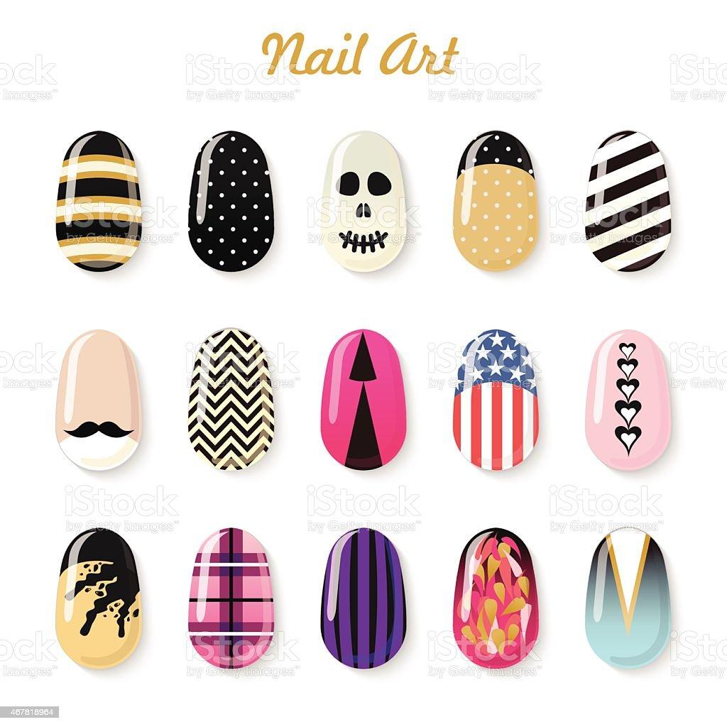 Set of 15 colorful custom nail art templates vector art illustration