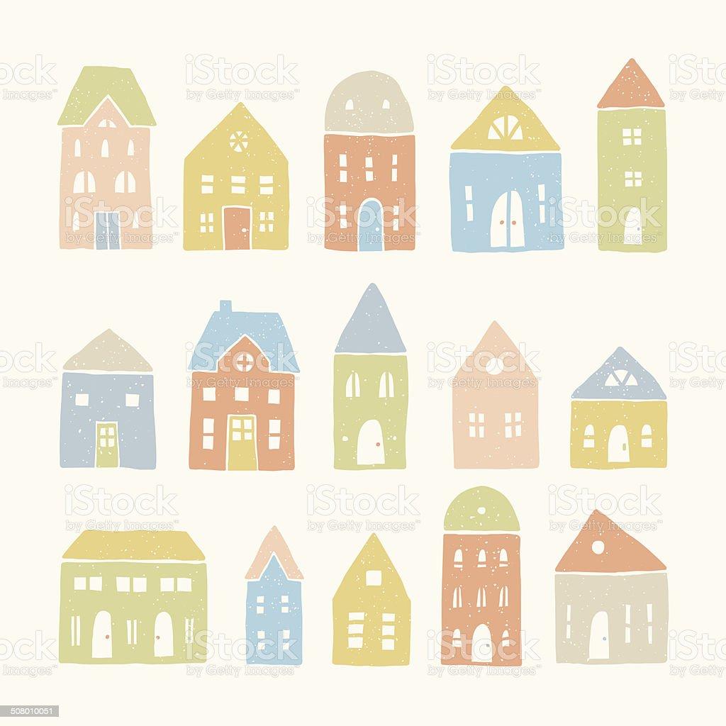 Set of 15 cute houses vector art illustration