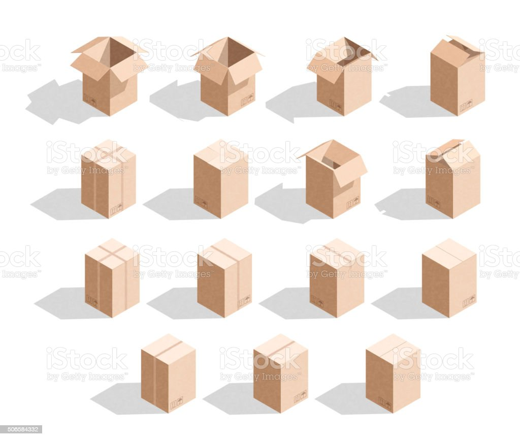 Set of 15 realistic isometric cardboard boxes with texture vector art illustration