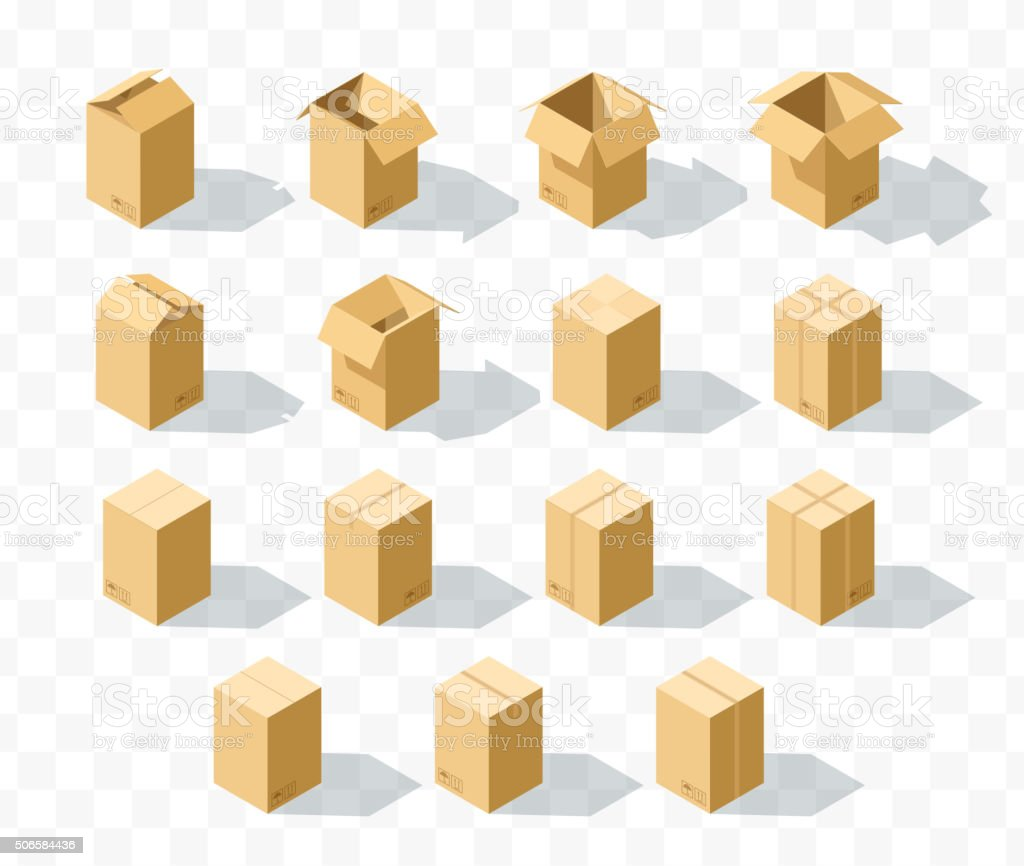 Set of 15 realistic isometric cardboard boxes with transparent shadow vector art illustration