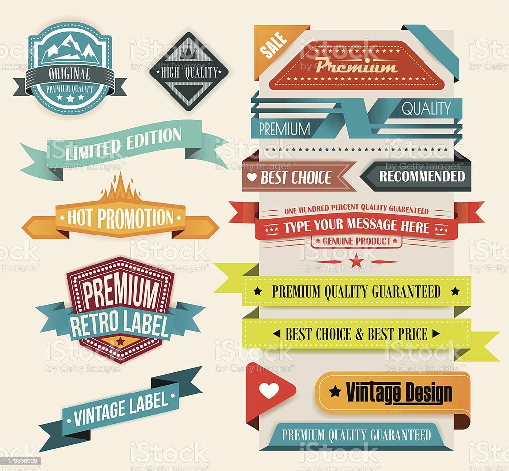 Set of 15 Vintage Elements vector art illustration