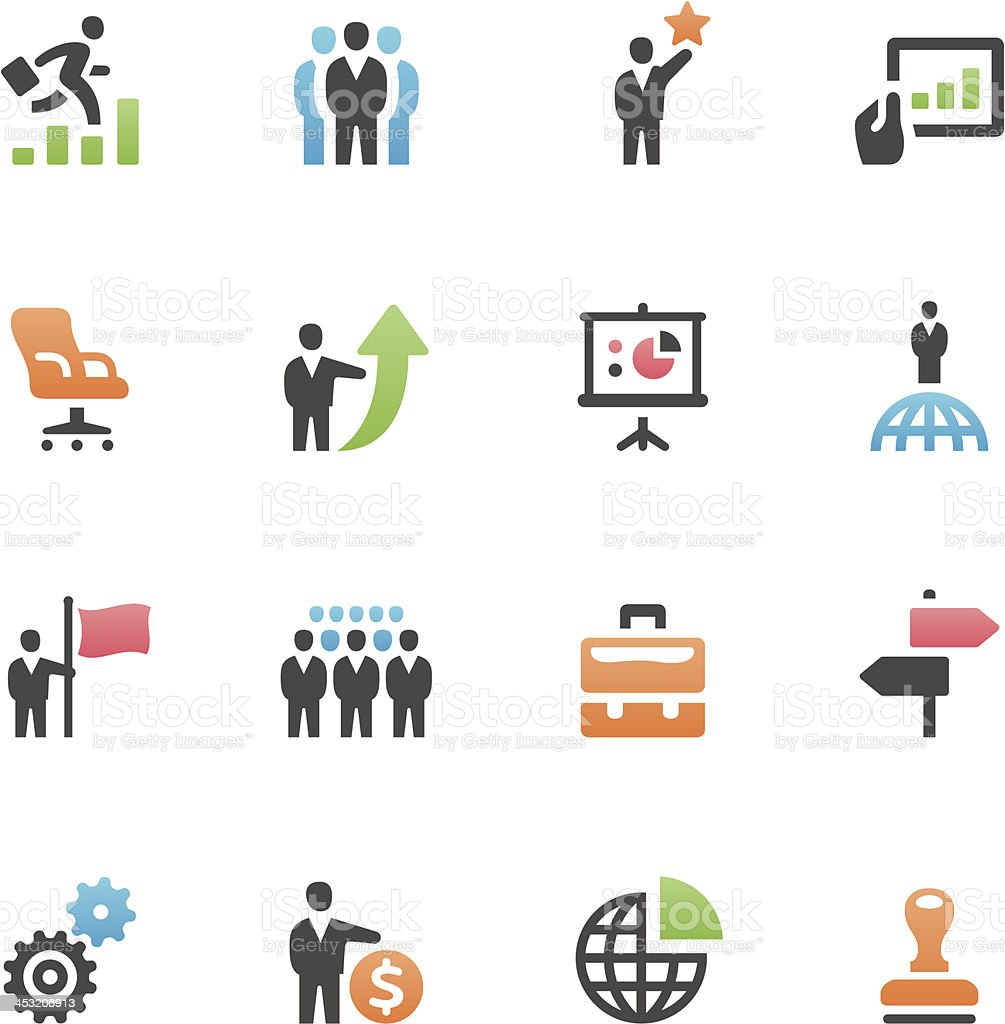 Set of 16 assorted business icons vector art illustration