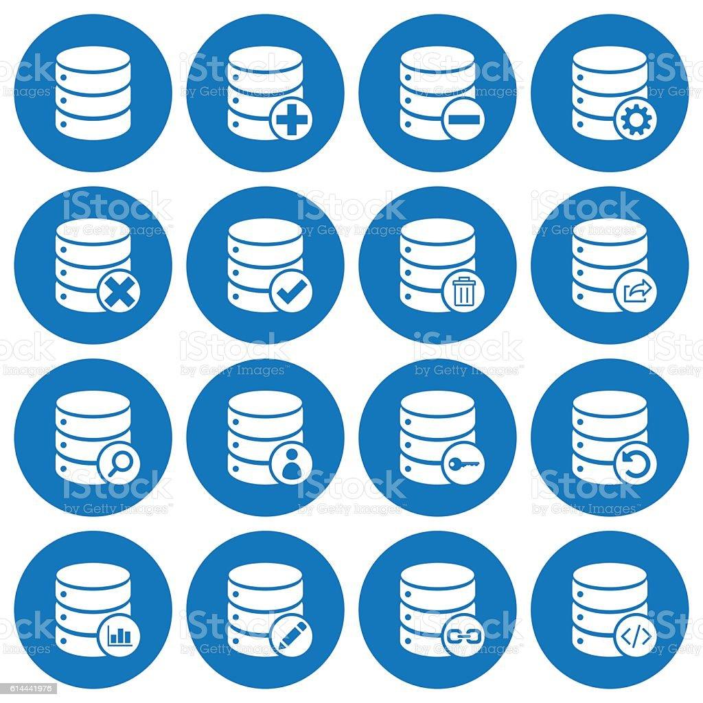 Set of 16 basic database management icons vector art illustration