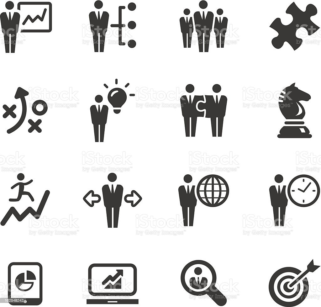 Set of 16 black and white business management icons vector art illustration
