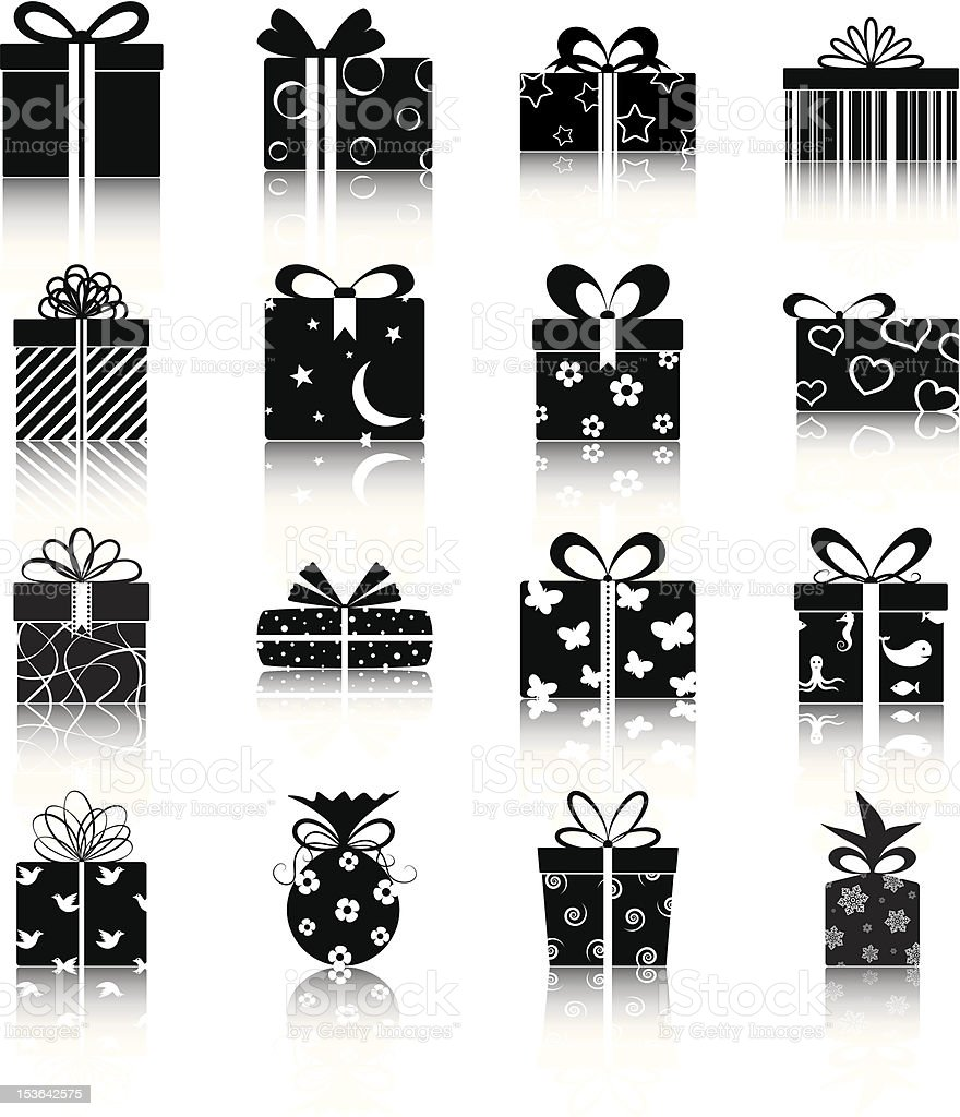 Set of 16 black and white vector icons of wrapped gifts royalty-free stock vector art