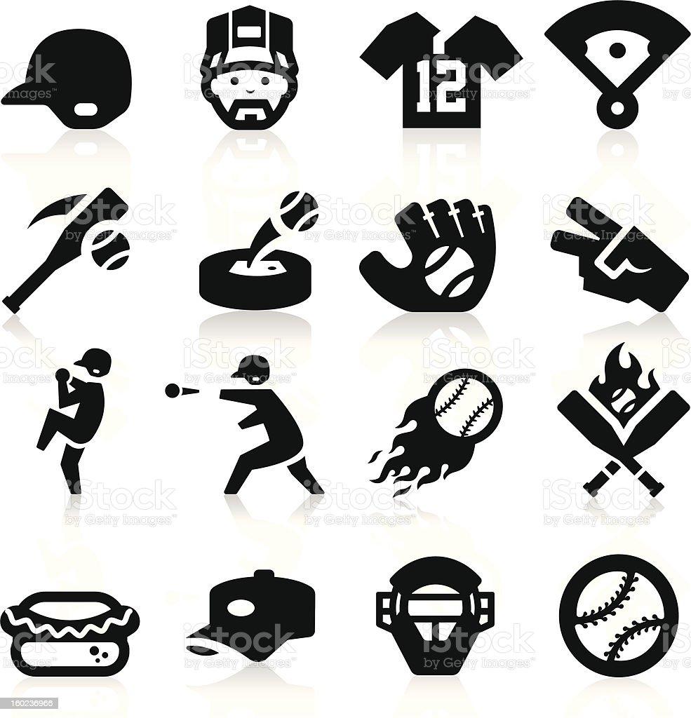 A set of 16 black, baseball-related icons vector art illustration