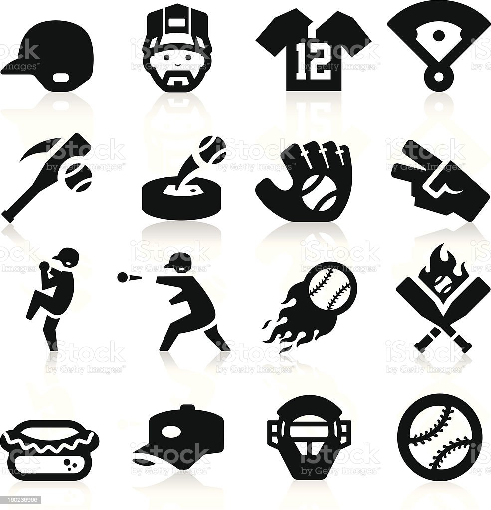 A set of 16 black, baseball-related icons vector art illustration