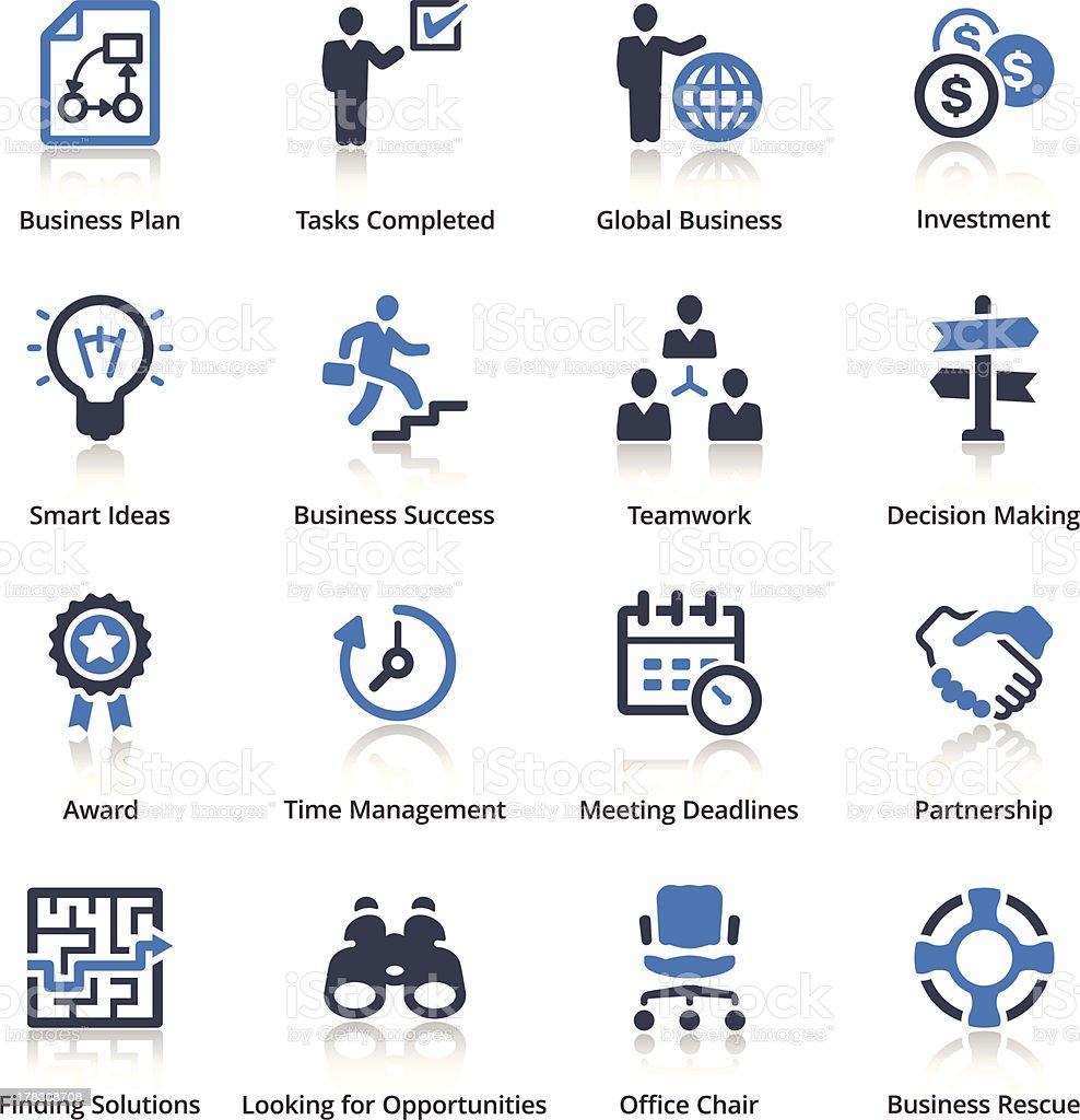 Set of 16 blue business icons vector art illustration
