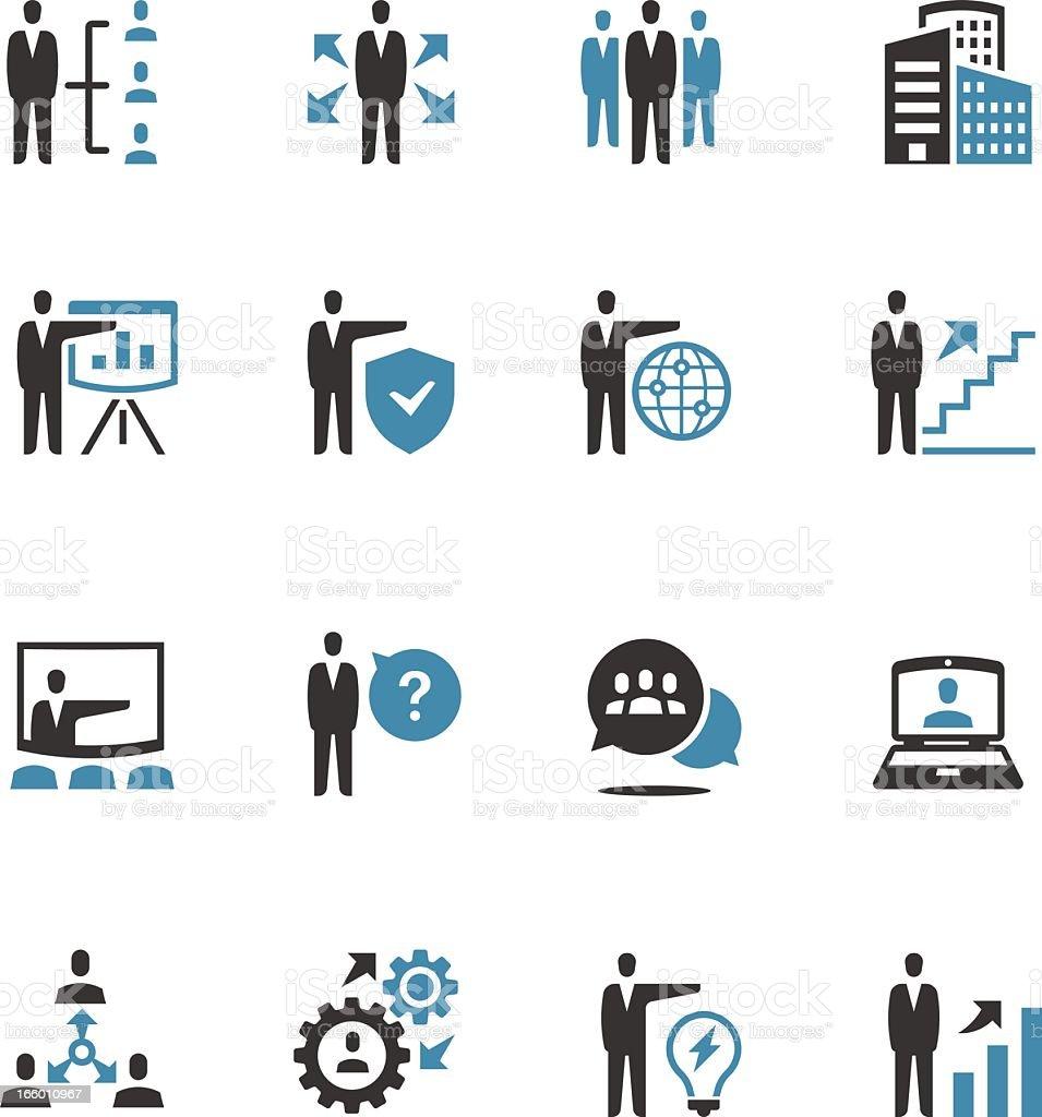 A set of 16 business icons showing different actions vector art illustration