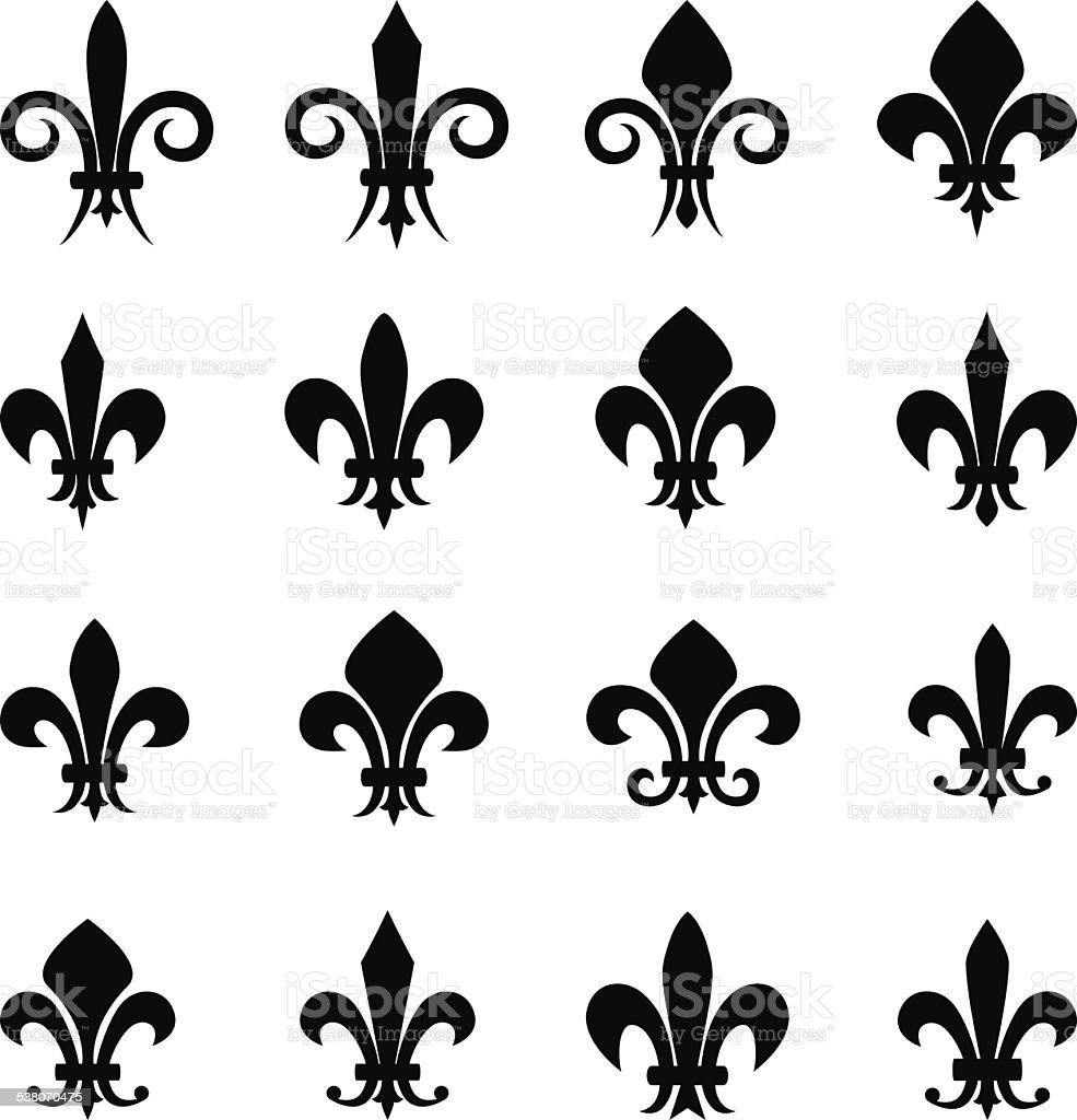 Set of 16 different Fleur De Lis symbols vector art illustration