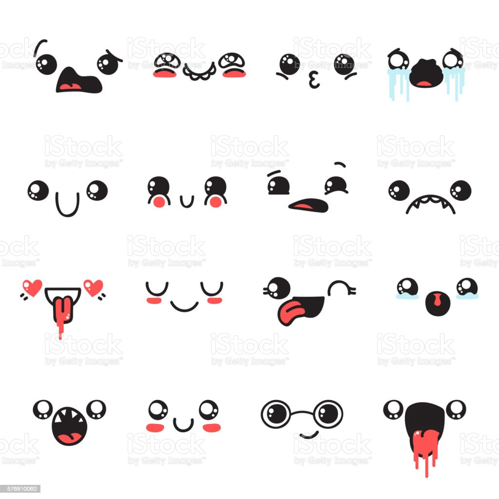 Set of 16 different pieces doddle emotions to create characters. vector art illustration