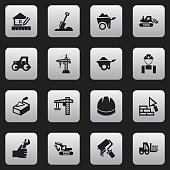 Set Of 16 Editable Building Icons.