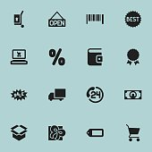 Set Of 16 Editable Business Icons.