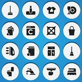 Set Of 16 Editable Cleaning Icons.