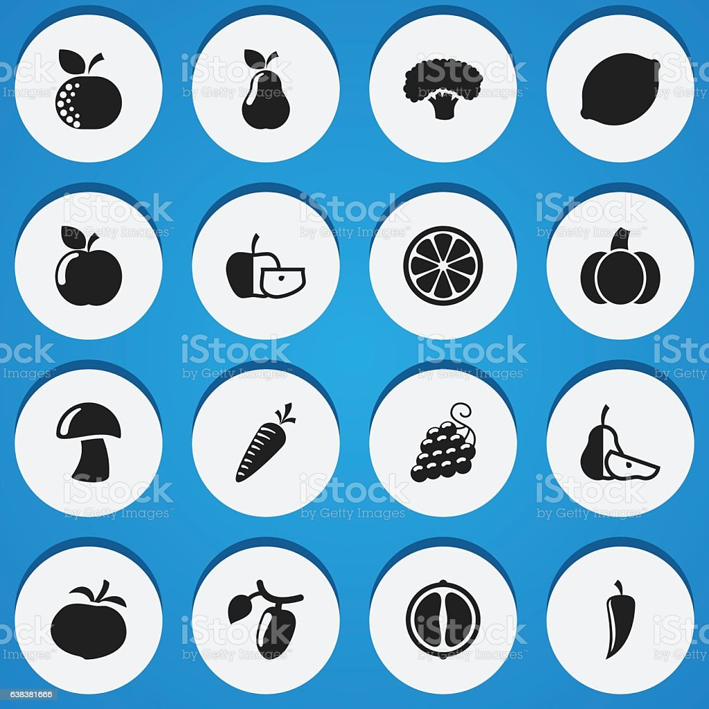 Set Of 16 Editable Cookware Icons vector art illustration