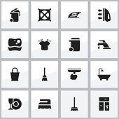 Set Of 16 Editable Dry-Cleaning Icons.