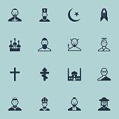 Set Of 16 Editable Faith Icons.