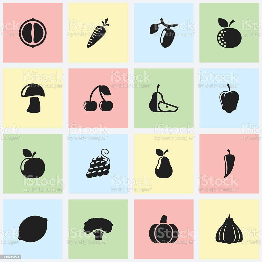 Set Of 16 Editable Food And Vegetable Icons. vector art illustration