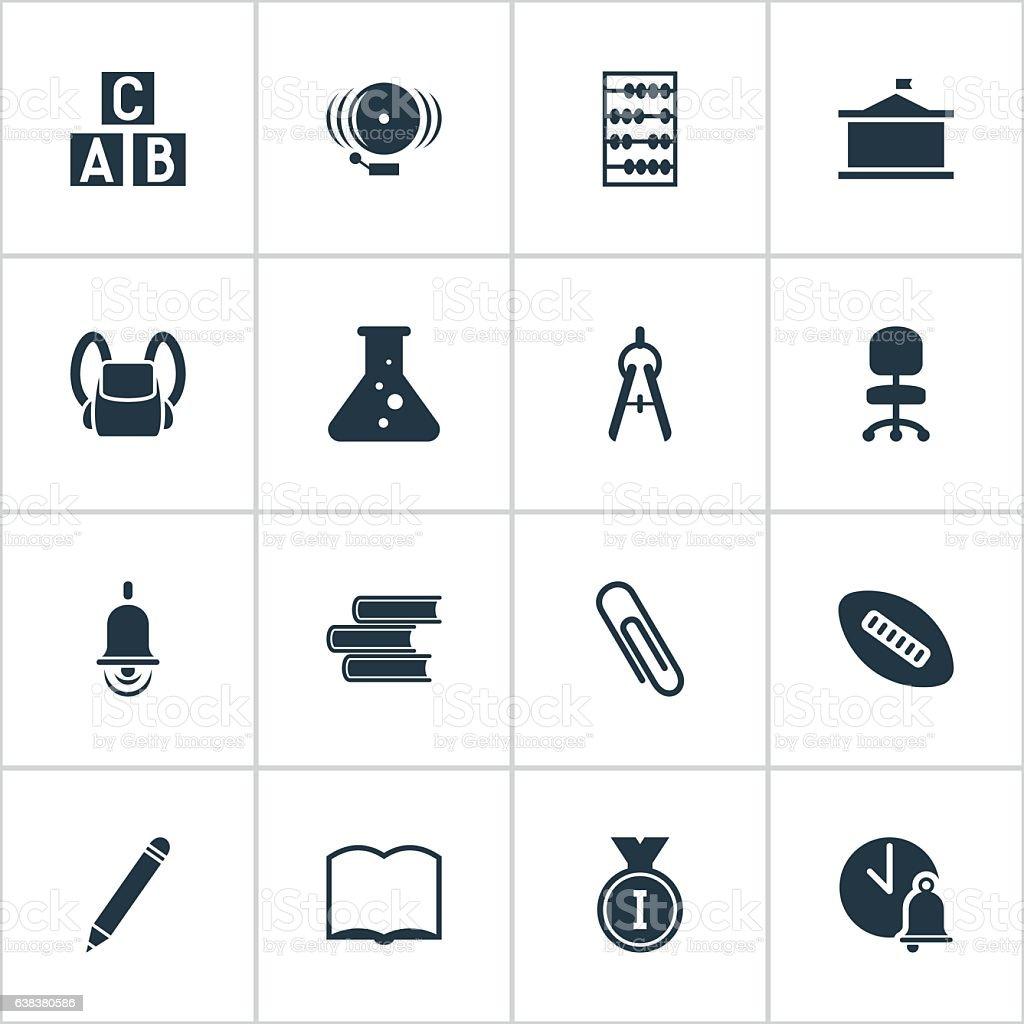 Set Of 16 Editable Graduation Icons. vector art illustration