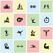 Set Of 16 Editable Healthy Icons.