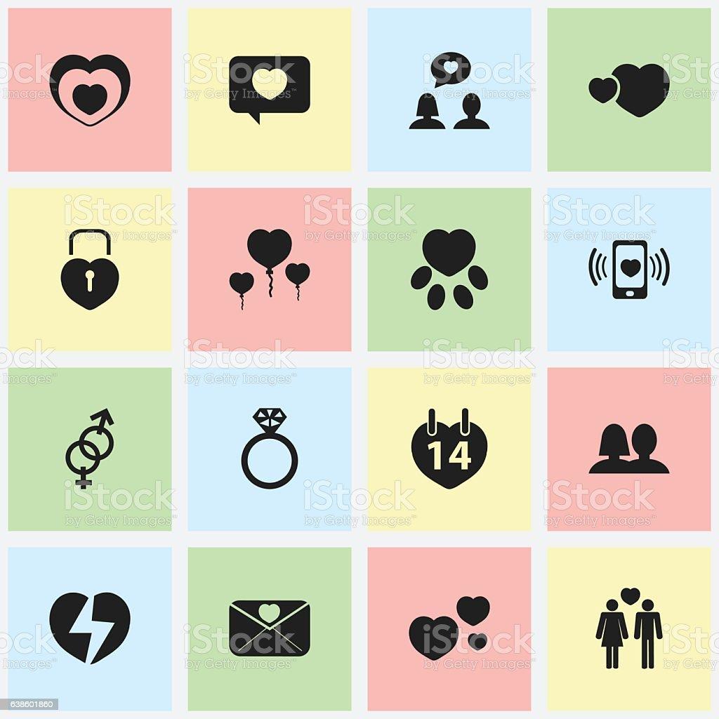 Set Of 16 Editable Heart Icons. vector art illustration