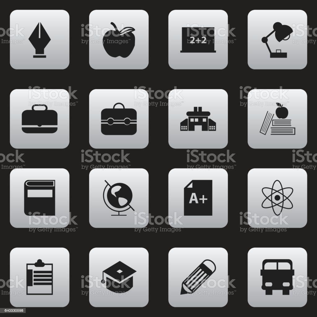 Set Of 16 Editable Knowledge Icons. vector art illustration