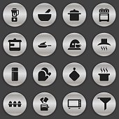 Set Of 16 Editable Meal Icons.