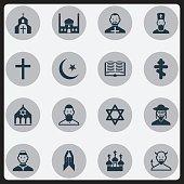 Set Of 16 Editable Religion Icons.