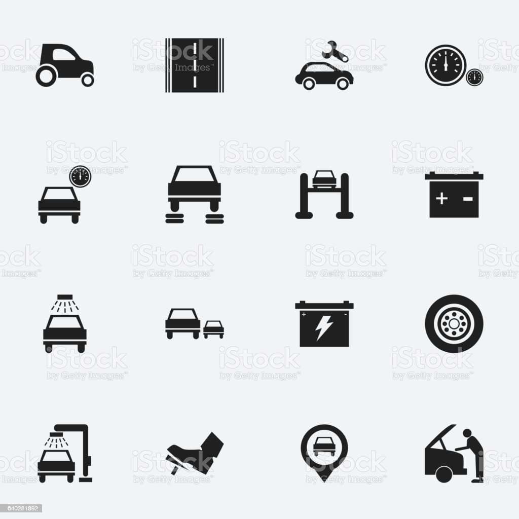 Set Of 16 Editable Transport Icons. vector art illustration