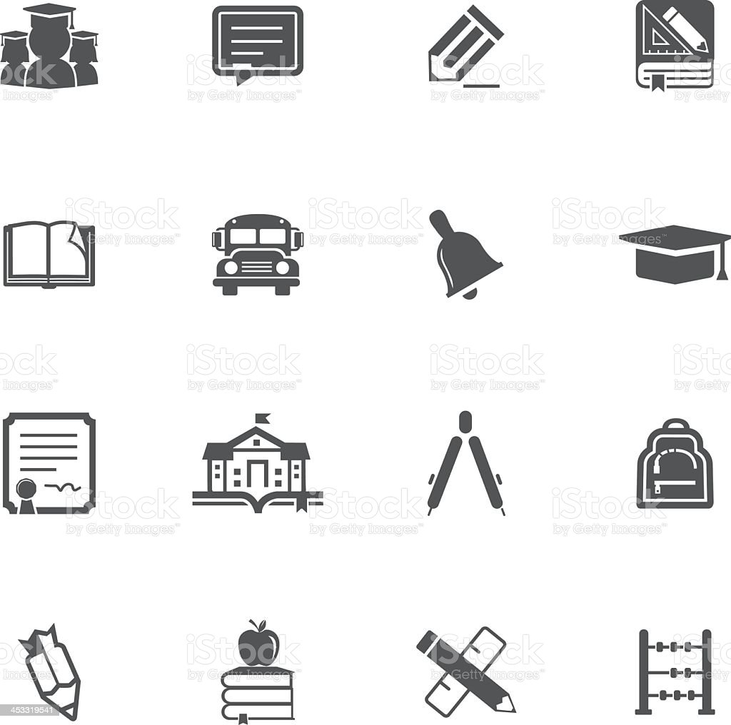 Set of 16 education-related icons in black and white vector art illustration