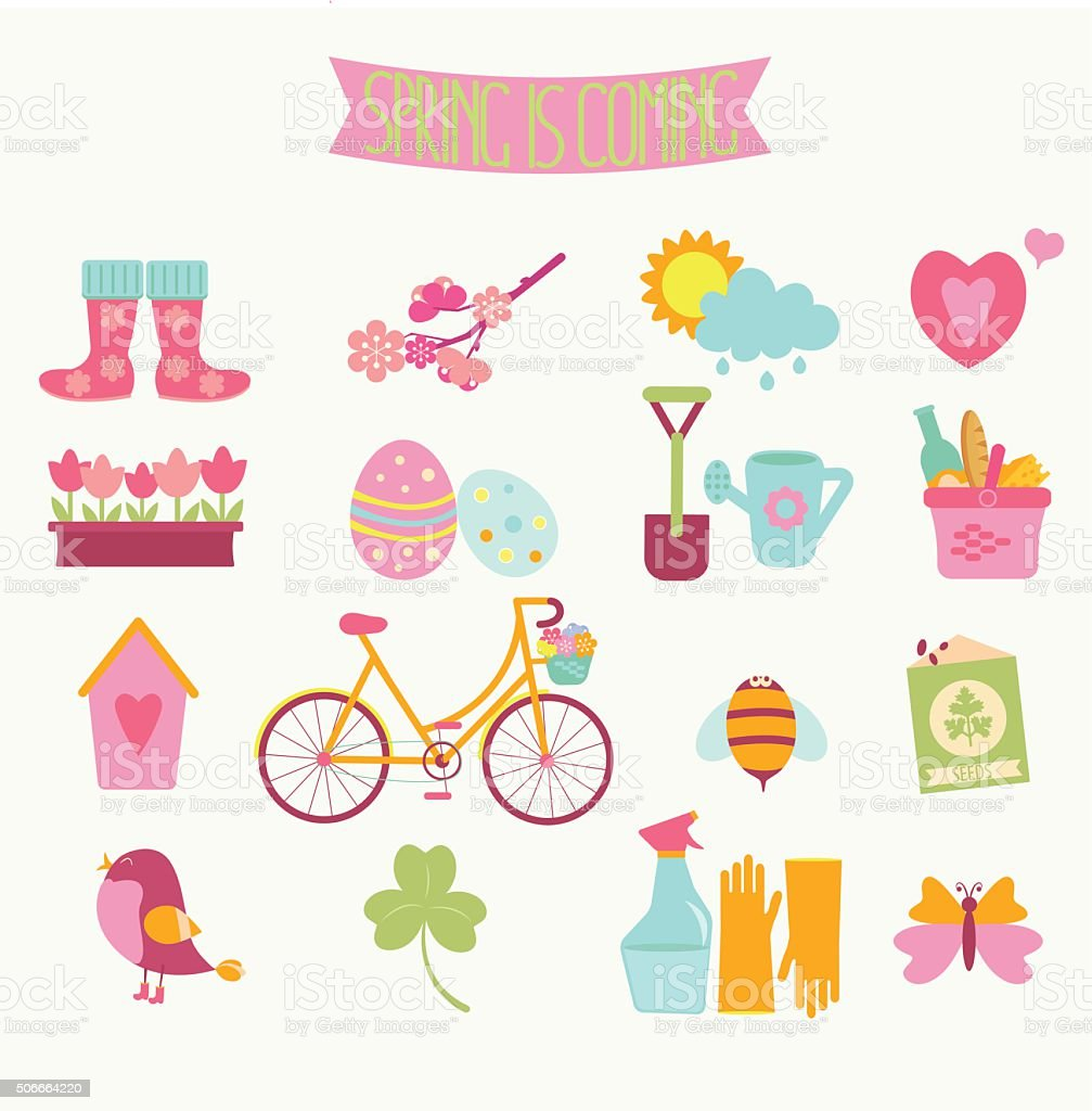 Set of 16 flat colorful spring icons. Vector illustration. vector art illustration