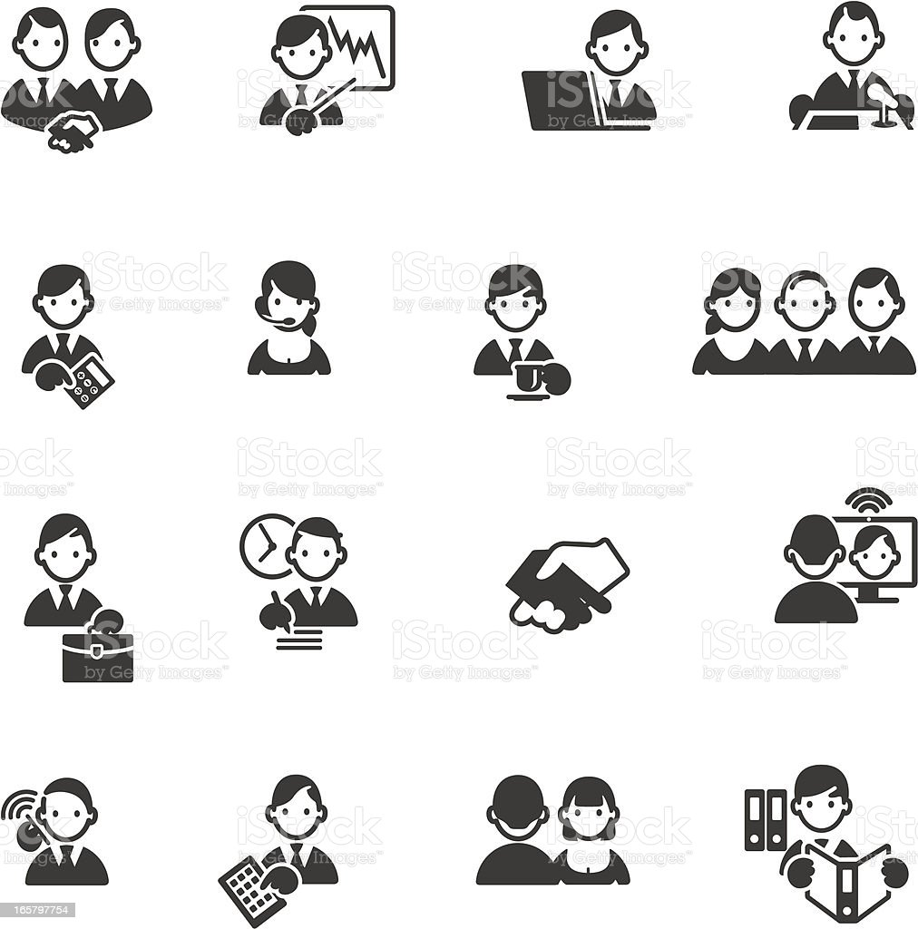 Set of 16 gray business themed icons with simple faces vector art illustration