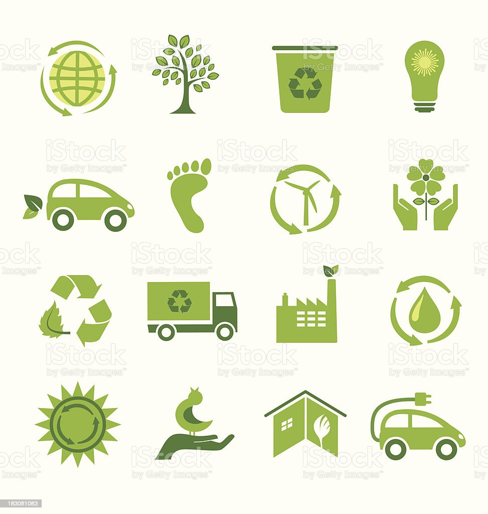 Set of 16 Green Icons vector art illustration