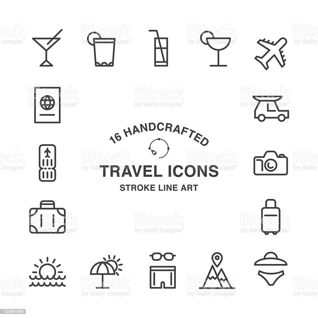 Set of 16 handcrafted travel stroke icons vector art illustration