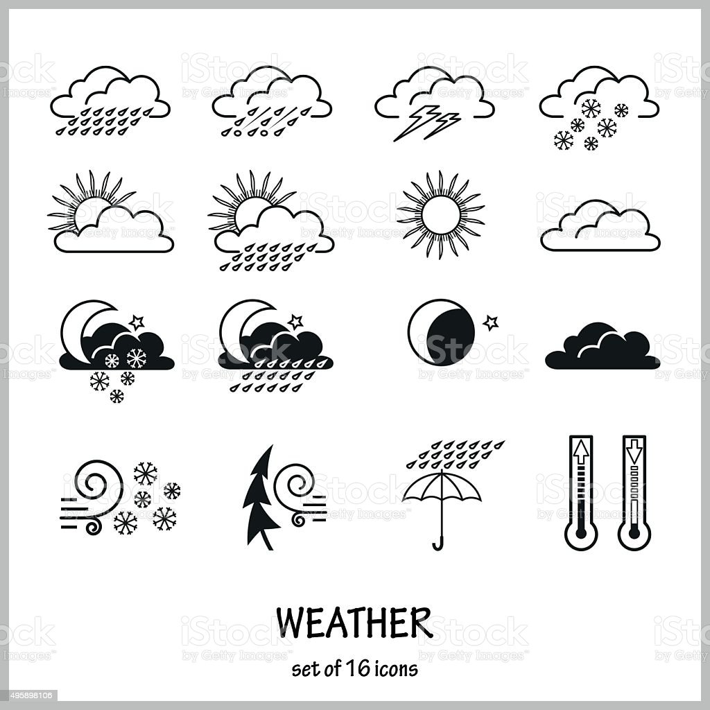 Set of 16 icons weather vector art illustration