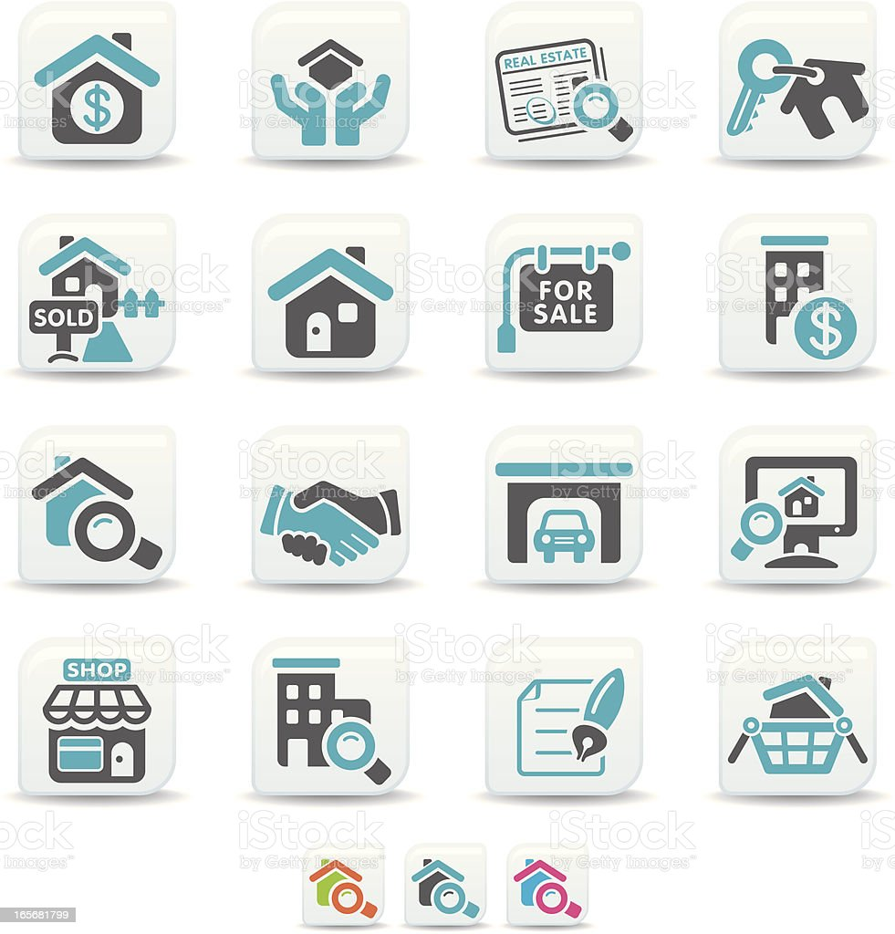 Set of 16 real estate themed icons in teal and black royalty-free stock vector art