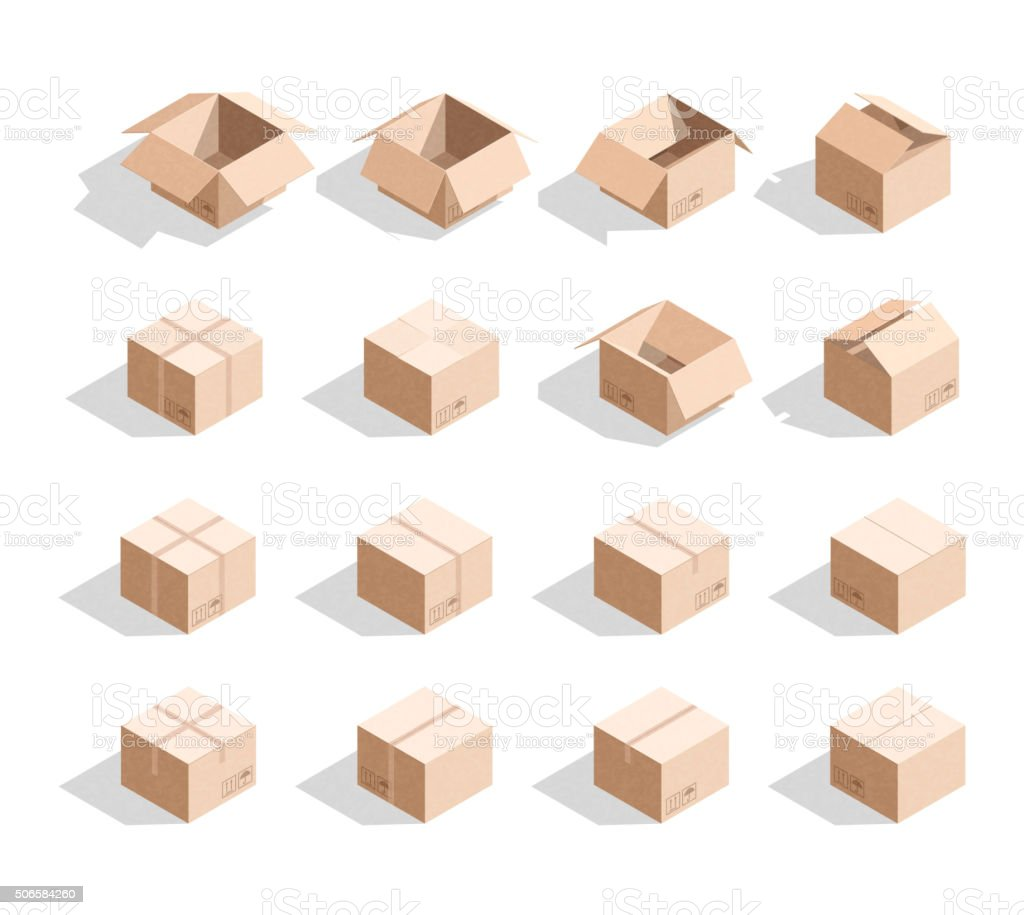 Set of 16 realistic isometric cardboard boxes with texture vector art illustration