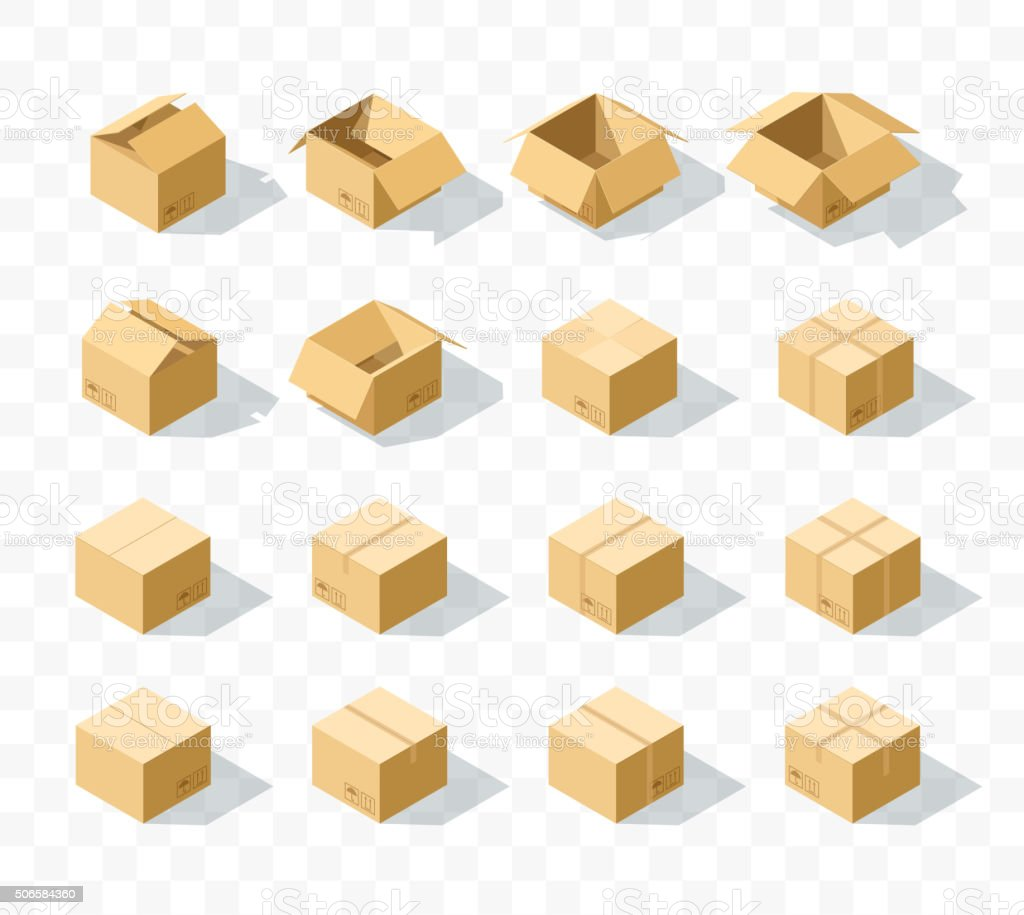 Set of 16 realistic isometric cardboard boxes with transparent shadow vector art illustration