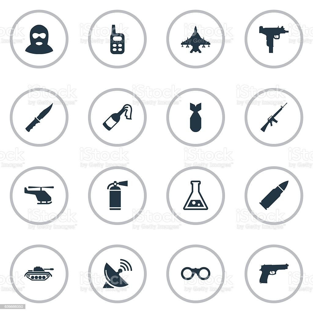 Set Of 16 Simple Army Icons. vector art illustration