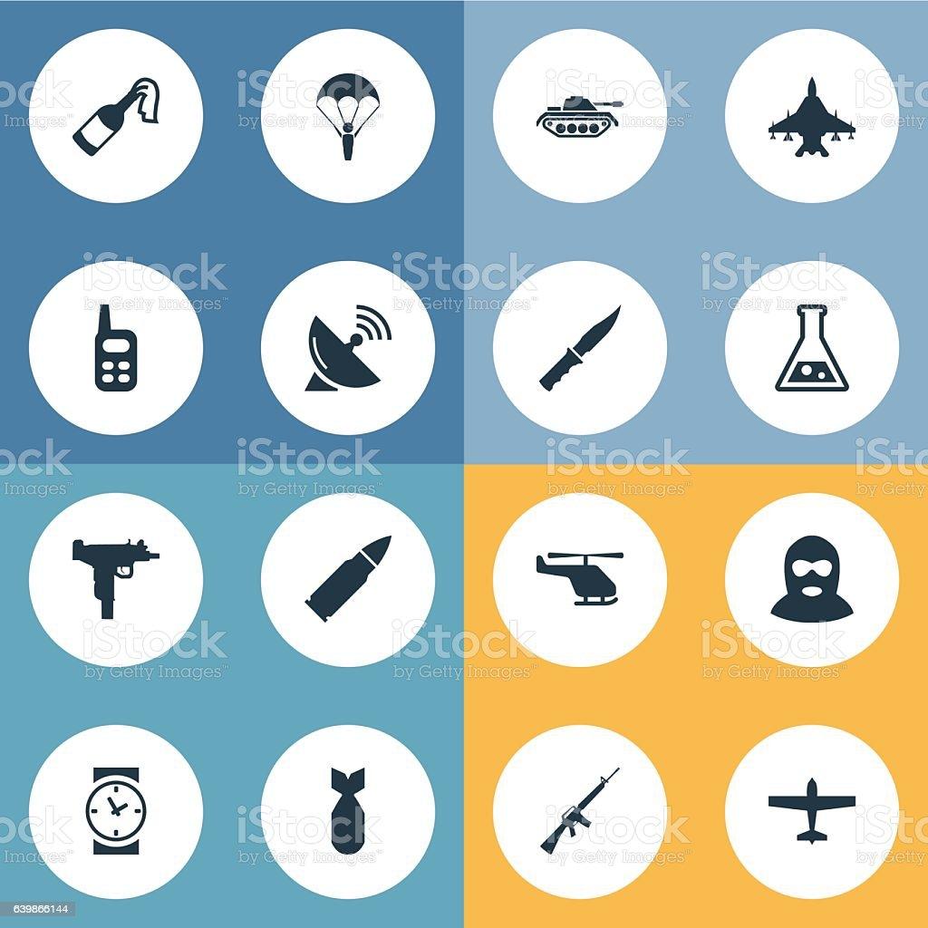 Set Of 16 Simple Battle Icons. vector art illustration
